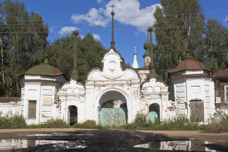 Gateway to the Mikhaylo-Arkhangelsky monastery in the town of Veliky Ustyug Vologda Region, Russia