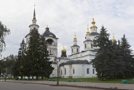 street creed: Cathedral of the Assumption of the Blessed Virgin Mary in the early summer morning in Veliky Ustyug, Vologda region, Russia Stock Photo