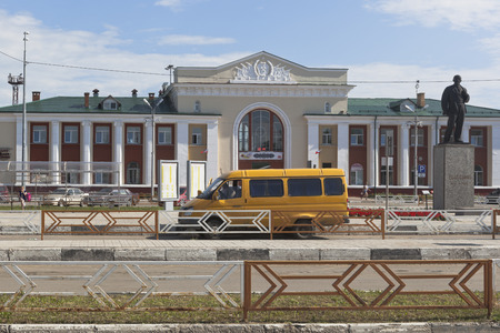 A fixed-route taxi at the station square of the Kotlas Yuzhny railway station in the Arkhangelsk Region, Russia Editorial