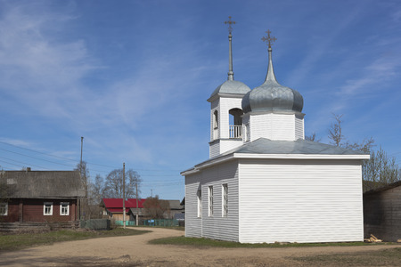 street creed: Chapel of the Assumption of the Blessed Virgin Mary in the village of Mokievskaya, Verkhovazhsky district, Vologda region, Russia