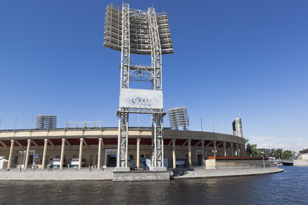 View of the Petrovsky Stadium from the Zhdanovskaya Embankment in St. Petersburg Petersburg, Russia