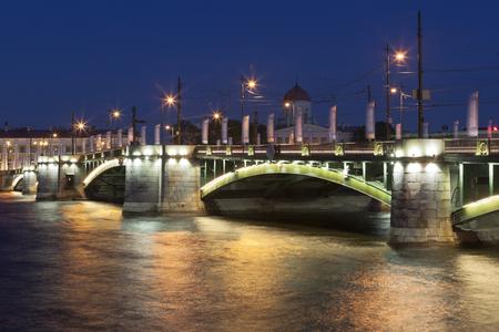 Stock exchange bridge summer night in St. Petersburg Petersburg, Russia Editorial