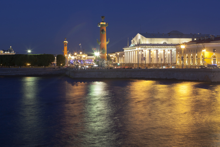Exchange building and Rostral. Petersburg, Russia