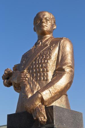 Bust to Sergei Leonidovich Sokolov against the blue sky in the city of Evpatoria, Republic of Crimea, Russia