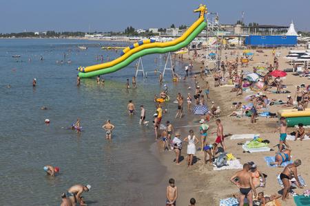 Beach Rodnichok in the resort town of Evpatoria, Republic of Crimea, Russia Editorial