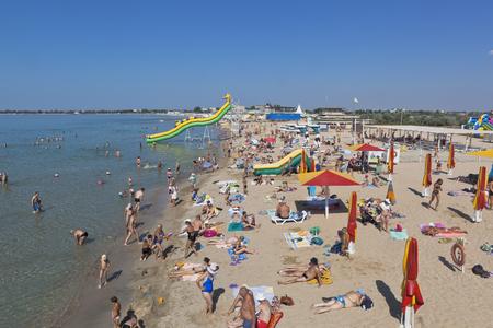 Lifeguard tower at the Rodnikoch beach in the resort of Evpatoria, Republic of Crimea, Russia