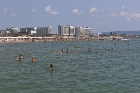 View from the sea to the beach of the resort of Dzhemete, Anapa, Krasnodar region, Russia