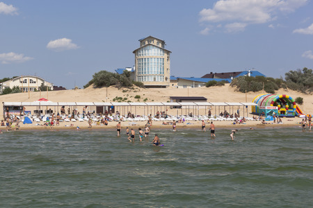 View from the sea to the beach and the hotel complex Galatea in the resort of Dzhemete, Anapa, Krasnodar region, Russia