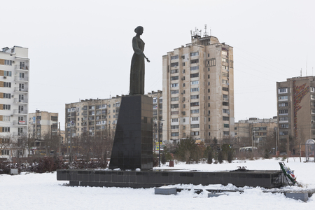 Monument to the Sorrowful Mother in the memorial complex Krasnaya Gorka in Evpatoria, Crimea, Russia
