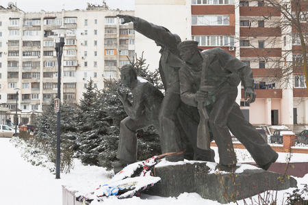 Monument on the mass grave of the Marines in the memorial complex Krasnaya Gorka in the city of Evpatoria, Crimea, Russia Editorial