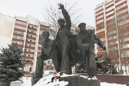 Monument Running Red Army on the mass grave of sailors-paratroopers in the city of Evpatoria, Crimea, Russia Editorial