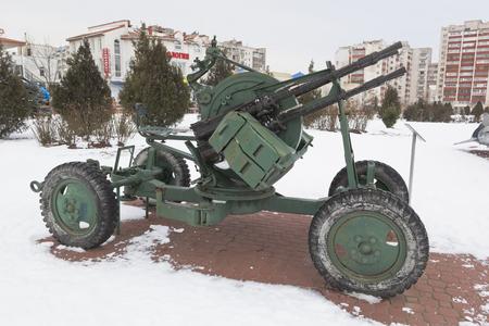 Evpatoria, Crimea, Russia - February 28, 2018: Anti-aircraft machine-gun installation ZPU-4 in the open-air museum of the memorial complex Krasnaya Gorka in the city of Evpatoria, Crimea