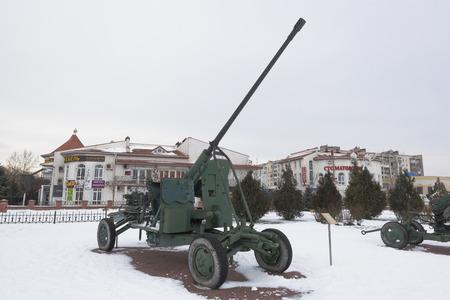 Evpatoria, Crimea, Russia - February 28, 2018: Anti-aircraft automatic gun AZP-57 in the open-air museum of the memorial complex Krasnaya Gorka in the city of Evpatoria, Crimea