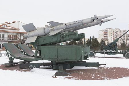 Evpatoria, Crimea, Russia - February 28, 2018: S-125 Pechora anti-aircraft missile system in the memorial complex Krasnaya Gorka in the city of Evpatoria, Crimea Editorial