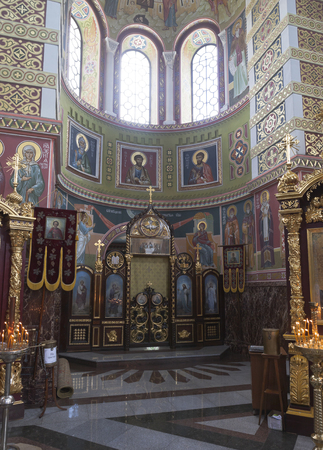 The interior of the Cathedral of St. Nicholas the Wonderworker in the city of Evpatoria, Crimea, Russia