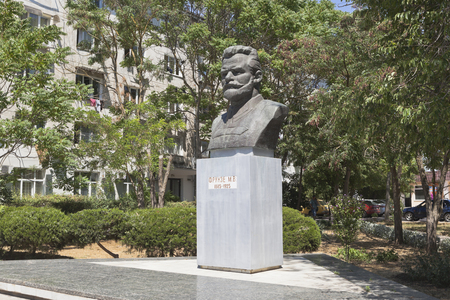 Evpatoria, Crimea, Russia - July 2, 2018: Monument to Mikhail Vasilyevich Frunze at the intersection of Frunze and Nekrasov streets in the city of Evpatoria, Crimea