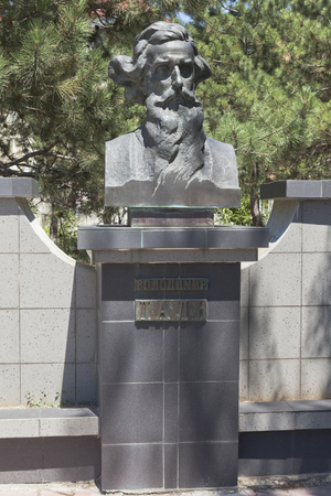Evpatoria, Crimea, Russia - July 2, 2018: Bust of Vladimir Ivanovich Dal at the intersection of Kirov and Shevchenko streets in the city of Evpatoria, Crimea Redakční
