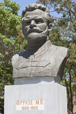 Evpatoria, Crimea, Russia - July 2, 2018: Bust of Mikhail Vasilyevich Frunze in the city of Evpatoria, Crimea Editorial
