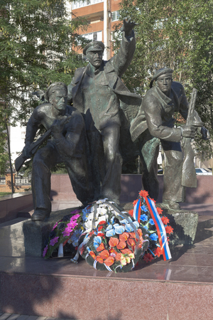 Evpatoria, Crimea, Russia - July 3, 2018: Monument of the Running Red Army soldiers at the mass grave of paratroopers in Evpatoria, Crimea