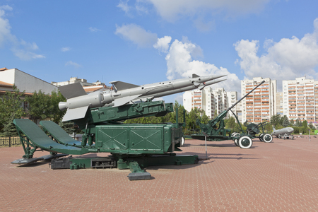Evpatoria, Crimea, Russia - July 4, 2018: Anti-aircraft missile system S-125 Pechora on the territory of the Red Hill memorial complex in the city of Evpatoria, Crimea
