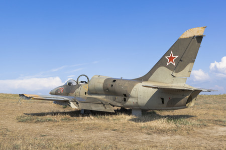 Taman, Temryuk district, Krasnodar region, Russia - July 17, 2019: Military aircraft Aero L-39 Albatros on Lysaya Gora in the village of Taman, Temryuk district of the Krasnodar region Editorial