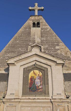 Mosaic painting of the Myrrh-bearing woman of St. Nicholas Church in the city of Sevastopol, Crimea, Russia