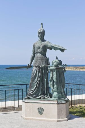 Sevastopol, Crimea, Russia - July 25, 2019: Sculptural composition Russia at the entrance to the Konstantinovsky battery in the hero city of Sevastopol, Crimea