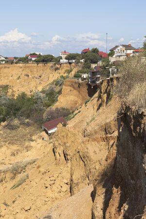 Landslide breaking houses near the Tolstyak beach in the city of Sevastopol, Crimea, Russia