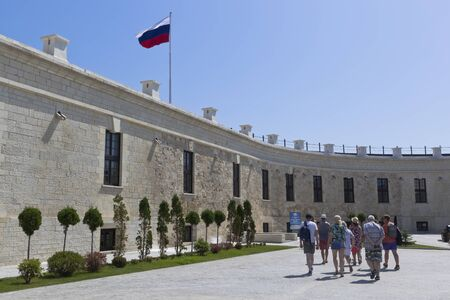 Sevastopol, Crimea, Russia - July 25, 2019: Excursion group at the Konstantinovskaya Battery museum and exhibition complex in the hero city of Sevastopol, Crimea Editorial