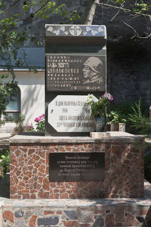 Inkerman, Sevastopol, Crimea, Russia - July 27, 2019: Monument to the soldiers of the 25th Infantry Chapaev Division in the territory of the St. Clement Monastery in Inkerman, Sevastopol, Crimea