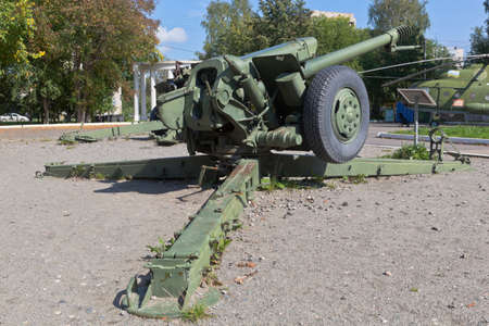 Vologda, Russia - August 20, 2019: Howitzer D-30 in Victory Park of the city of Vologda