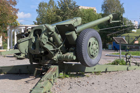 Vologda, Russia - August 20, 2019: Rear view of a 122-mm howitzer D-30 closeup in the Victory Park of the city of Vologda Editorial