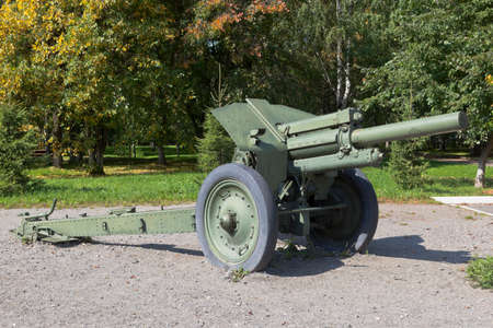 Vologda, Russia - August 20, 2019: 122 mm M-30 howitzer in Victory Park of the city of Vologda