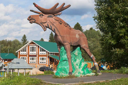 Sokolsky district, Vologda region, Russia - August 20, 2019: Sculpture of a moose at the M8 highway in Sokolsky district of the Vologda region