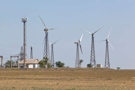 Vorobievskaya wind farm in Saksky district of Crimea, Russia