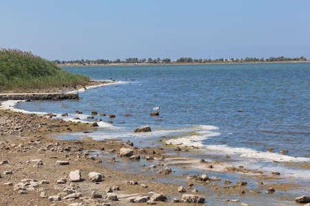 Lake Liman within the boundaries of the village of Olenevka, Black Sea region, Crimea, Russia Stock Photo