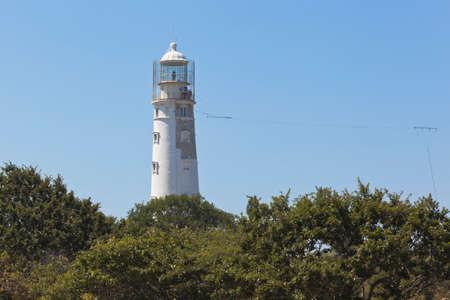 Tarkhankut lighthouse in the Black Sea region of Crimea, Russia Stock Photo