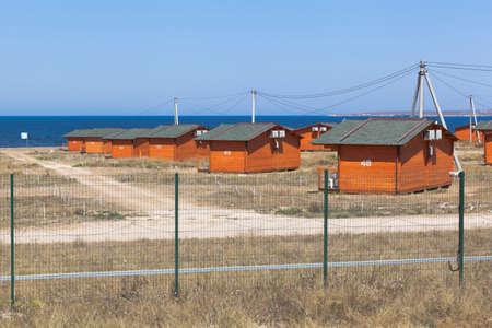 Olenevka, Chernomorsky district, Crimea, Russia - July 21, 2020: Camping Olenevka Village at Cape Tarkhankut, Crimea
