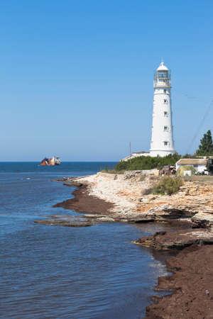 Cape Tarkhankut lighthouse on the western tip of Crimea, Russia