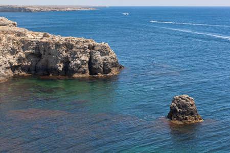 Rocks of the coast of the Tarkhankut peninsula, Crimea, Russia