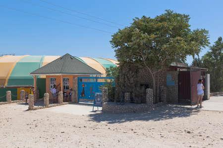 Chernomorsky District, Crimea, Russia - July 21, 2020: Tarkhankut Dolphinarium at Cape Bolshoi Atlesh, Crimea