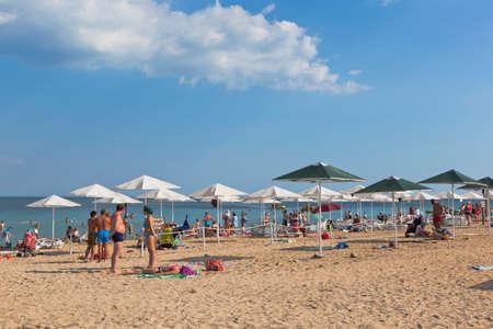 Zaozyornoye, Evpatoria, Crimea, Russia - July 21, 2020: Barabulka beach in the resort village of Zaozyornoye, Evpatoria, Crimea