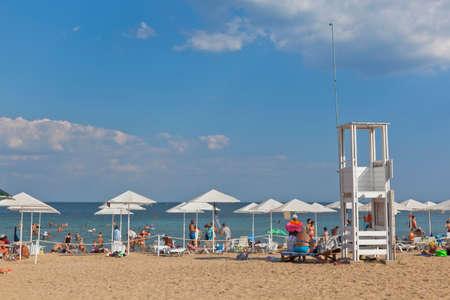Zaozyornoye, Evpatoria, Crimea, Russia - July 21, 2020: Rescue tower on the Barabulka beach in the resort village of Zaozyornoye, Evpatoria, Crimea Editorial
