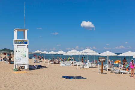 Zaozyornoye, Evpatoria, Crimea, Russia - July 22, 2020: Landscape of the Barabulka beach in the resort village of Zaozyornoye, Evpatoria, Crimea