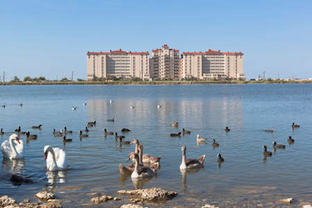 Evpatoria, Crimea, Russia - July 23, 2020: View from Lake Sasyk-Sivash to the house of the Golden Sands housing complex along Simferopolskaya street 2 f in the city of Evpatoria, Crimea Editorial