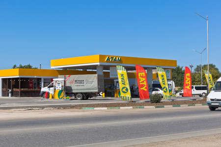 Saki, Crimea, Russia - July 23, 2020: Gas station of the Atan company on Evpatoria highway in the city of Saki, Crimea
