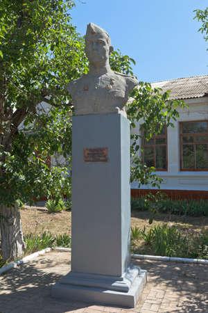 Saki, Crimea, Russia - July 23, 2020: Monument to the Hero of the Soviet Union Fyodor Ivanovich Senchenko in the city of Saki, Crimea