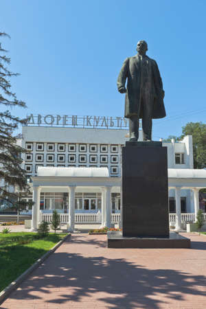 Saki, Crimea, Russia - July 23, 2020: Monument to Vladimir Ilyich Lenin on Revolution Square in the city of Saki, Crimea