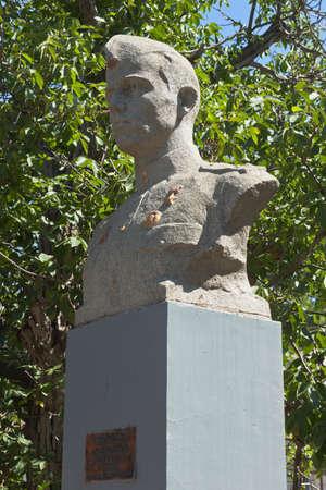 Saki, Crimea, Russia - July 23, 2020: Bust of the Hero of the Soviet Union Fedor Ivanovich Senchenko on Pionerskaya street in the city of Saki, Crimea
