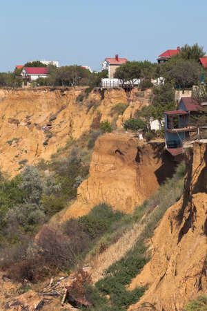 Uchkuevsky landslide breaking houses on the northern side of the city of Sevastopol, Crimea, Russia